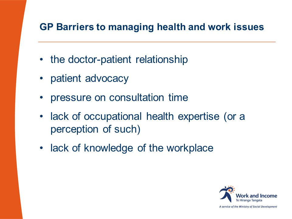 GP Barriers to managing health and work issues