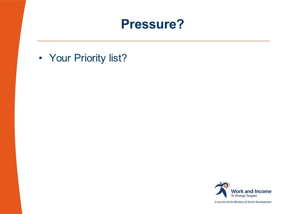 Pressure Your Priority list