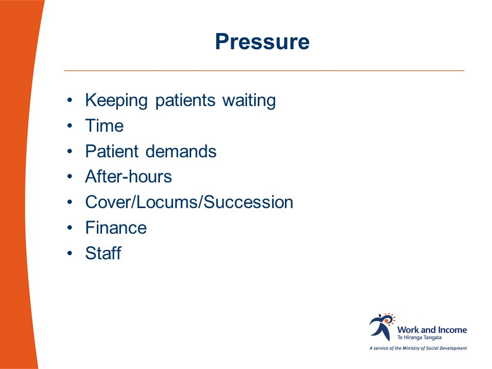 Pressure Keeping patients waiting Time Patient demands After-hours
