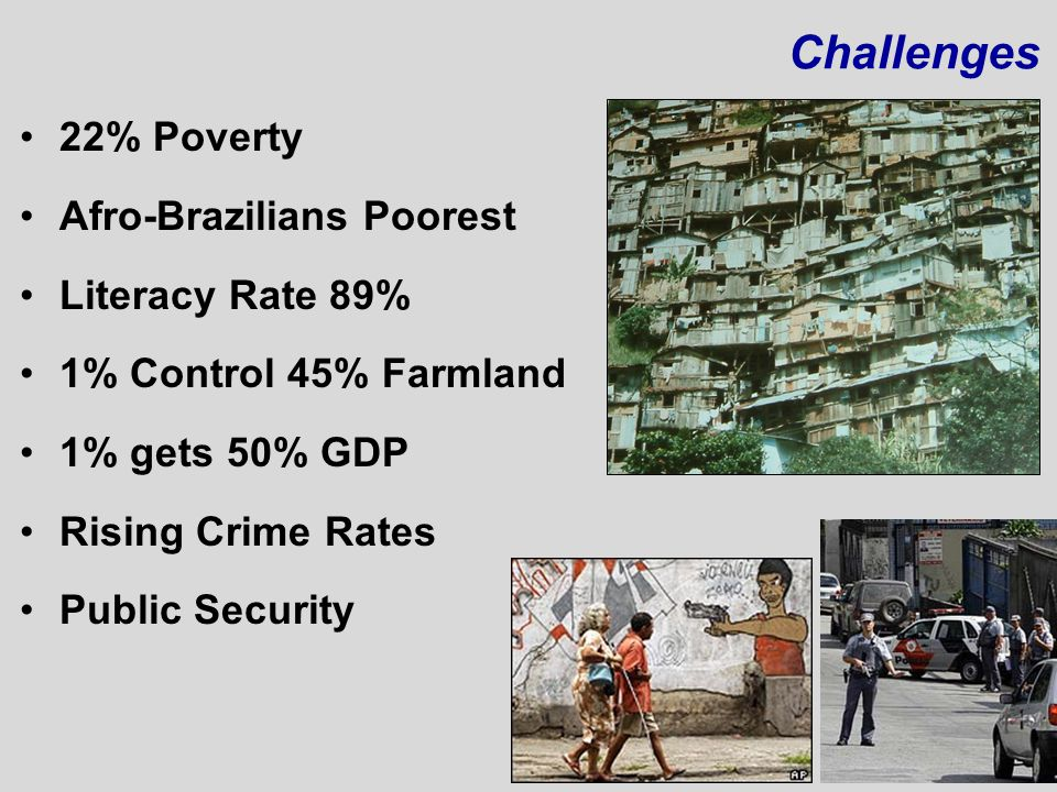 Challenges 22% Poverty Afro-Brazilians Poorest Literacy Rate 89%