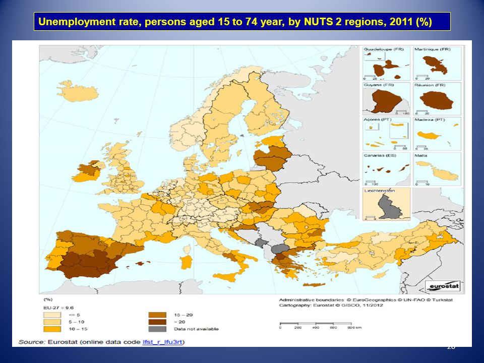 Unemployment rate, persons aged 15 to 74 year, by NUTS 2 regions, 2011 (%)
