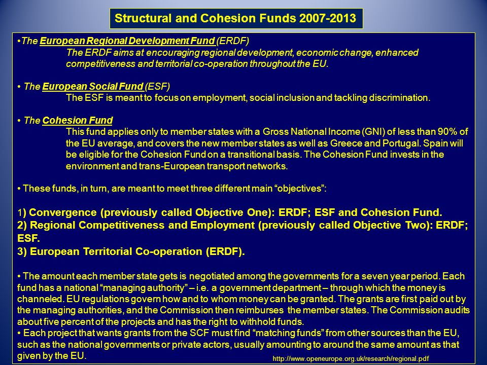 Structural and Cohesion Funds 2007-2013