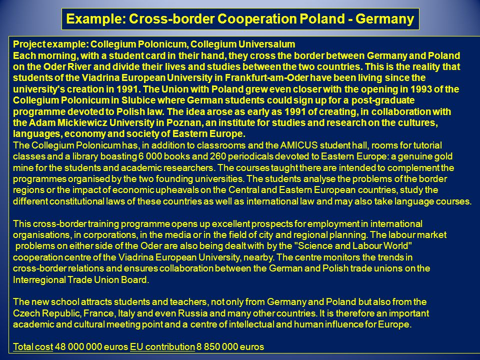 Example: Cross-border Cooperation Poland - Germany