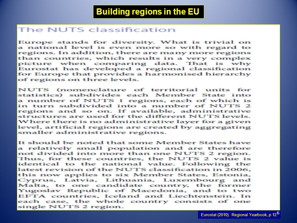 Building regions in the EU