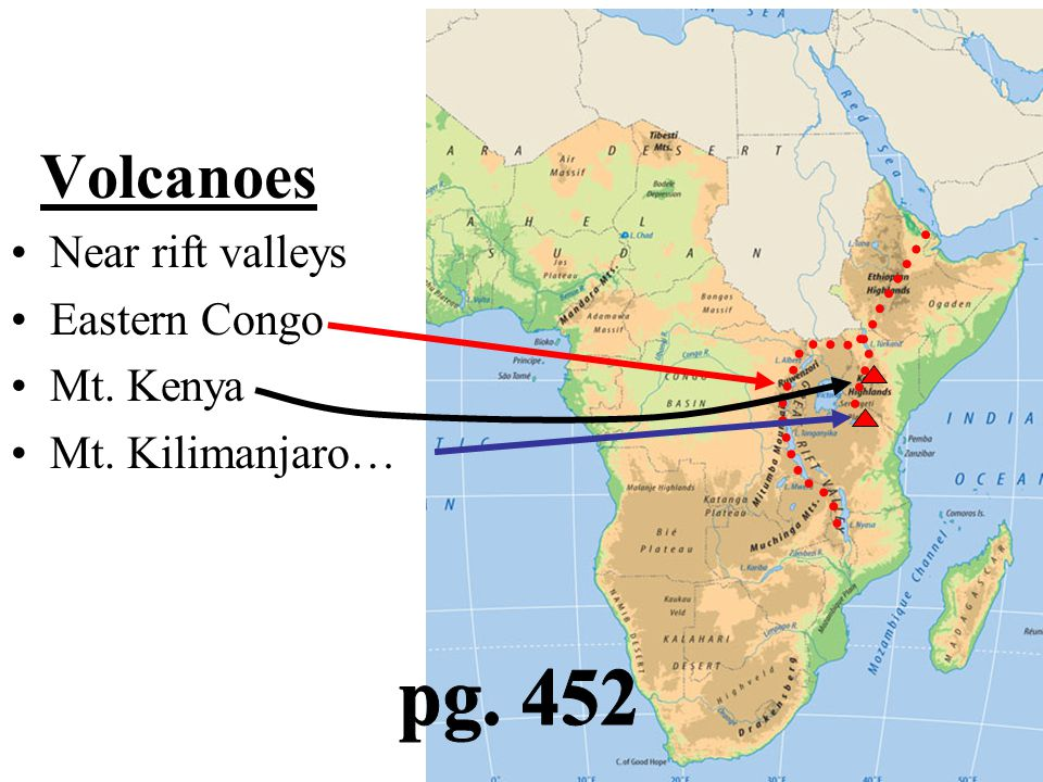 Volcanoes pg. 452 Near rift valleys Eastern Congo Mt. Kenya