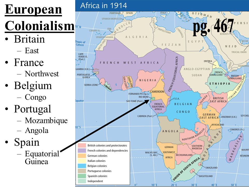 European Colonialism pg. 467 Britain France Belgium Portugal Spain