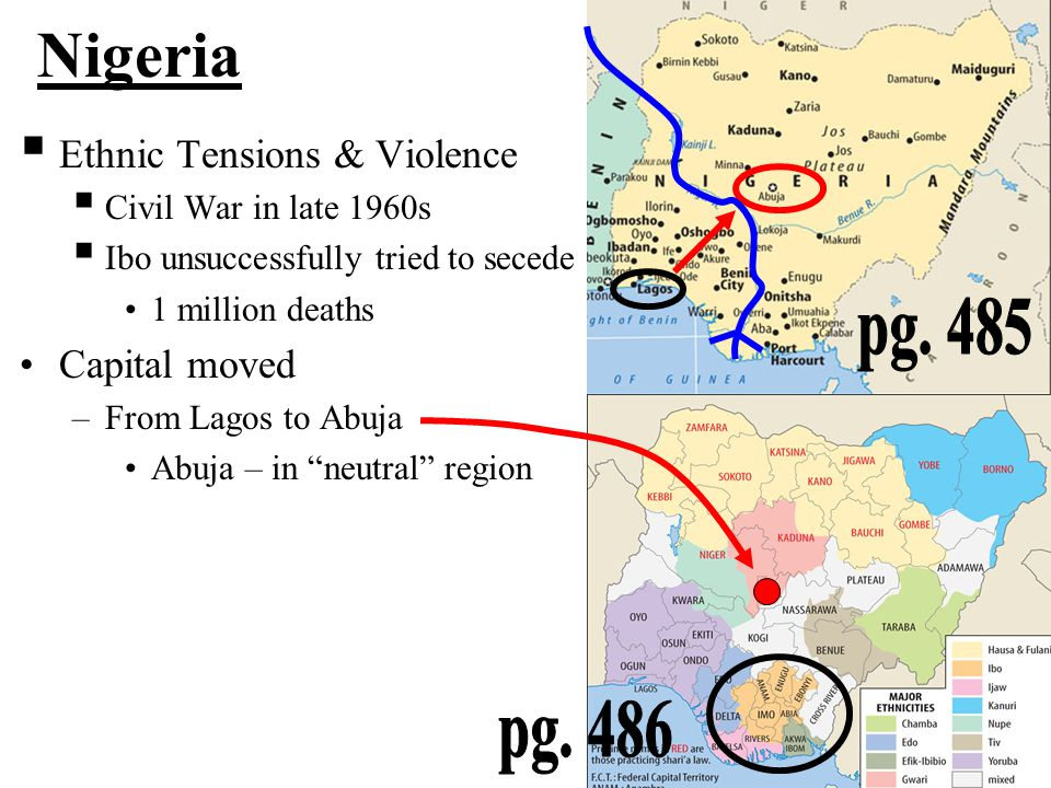 Nigeria pg. 485 pg. 486 Ethnic Tensions & Violence Capital moved