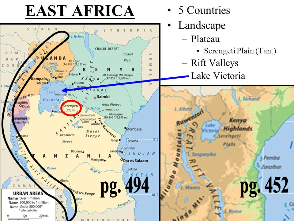 EAST AFRICA pg. 494 pg. 452 5 Countries Landscape Plateau Rift Valleys