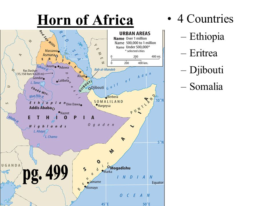 Horn of Africa pg. 465 pg. 499 4 Countries Ethiopia Eritrea Djibouti