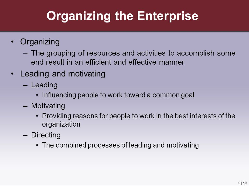 Organizing the Enterprise