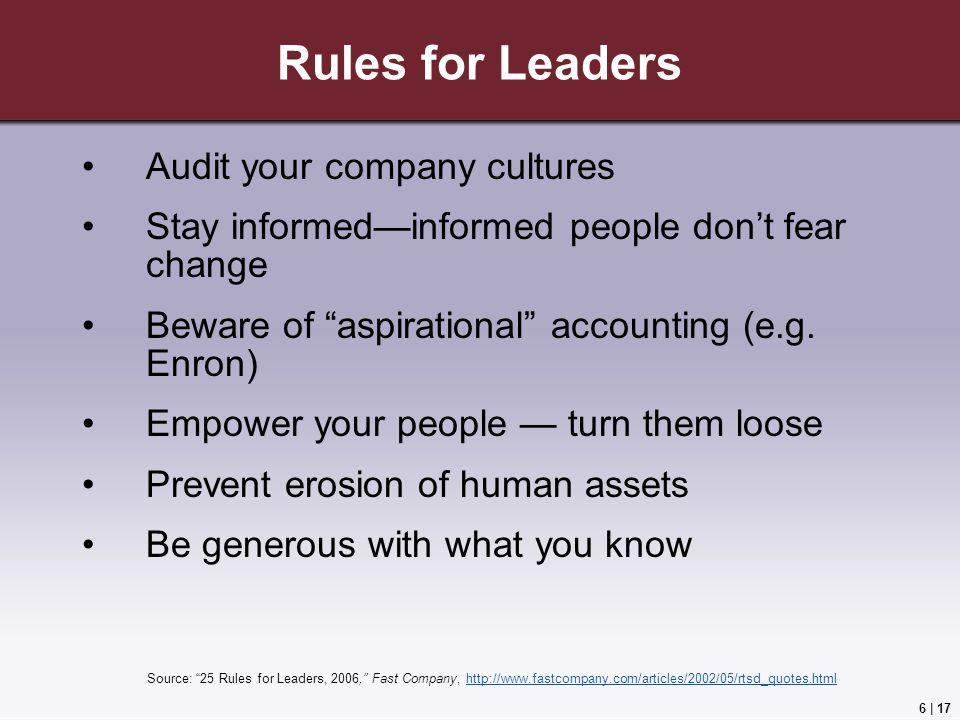 Rules for Leaders Audit your company cultures