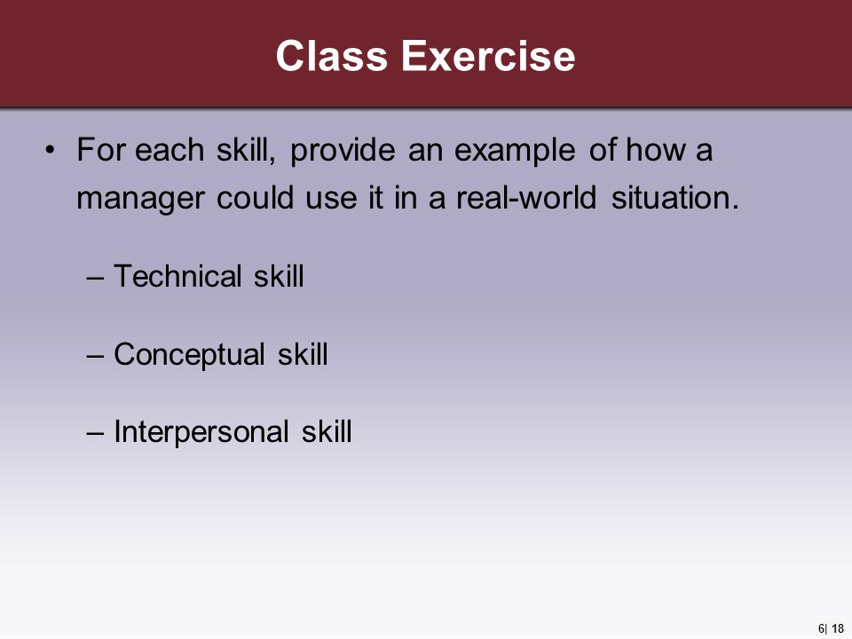Class Exercise For each skill, provide an example of how a manager could use it in a real-world situation.