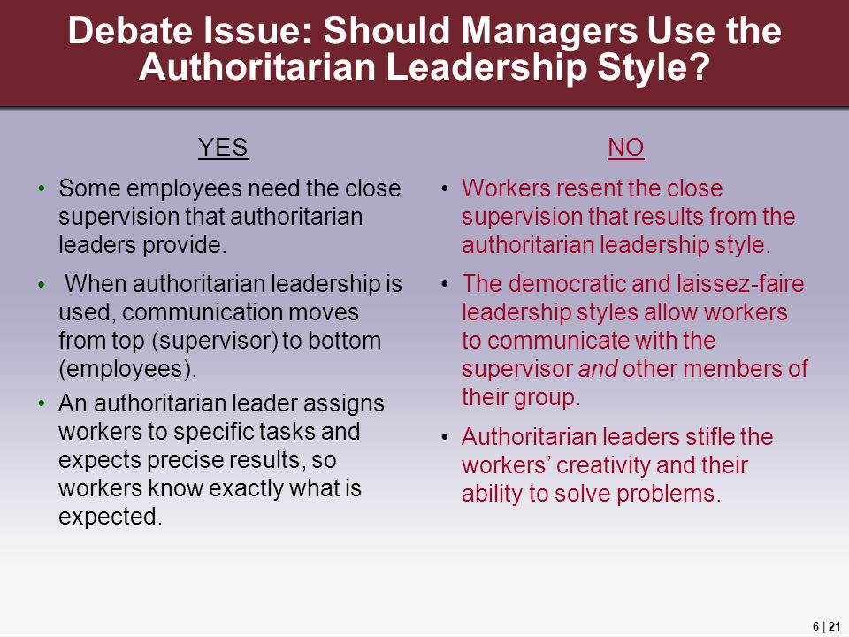 Debate Issue: Should Managers Use the Authoritarian Leadership Style