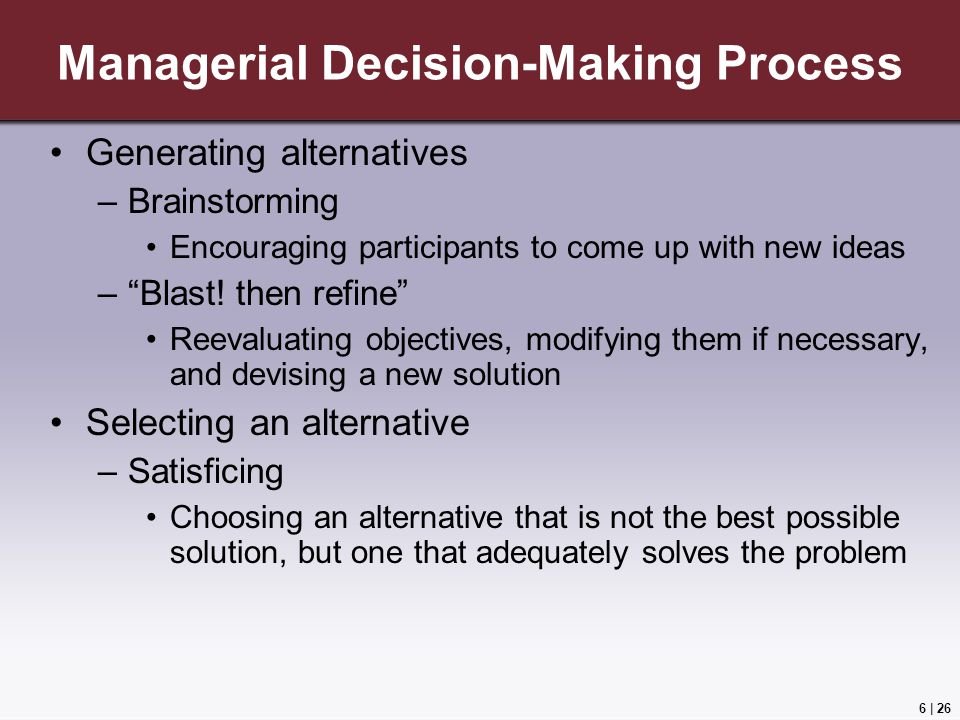 Managerial Decision-Making Process