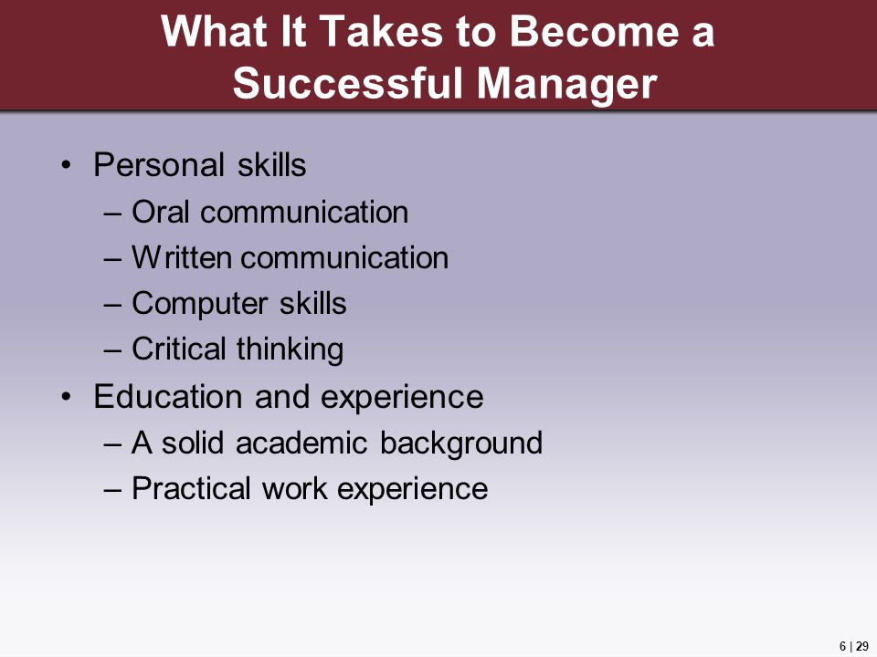 What It Takes to Become a Successful Manager