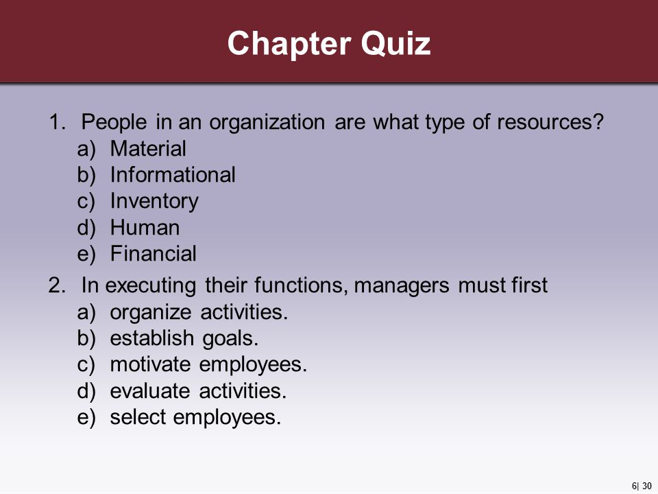Chapter Quiz People in an organization are what type of resources