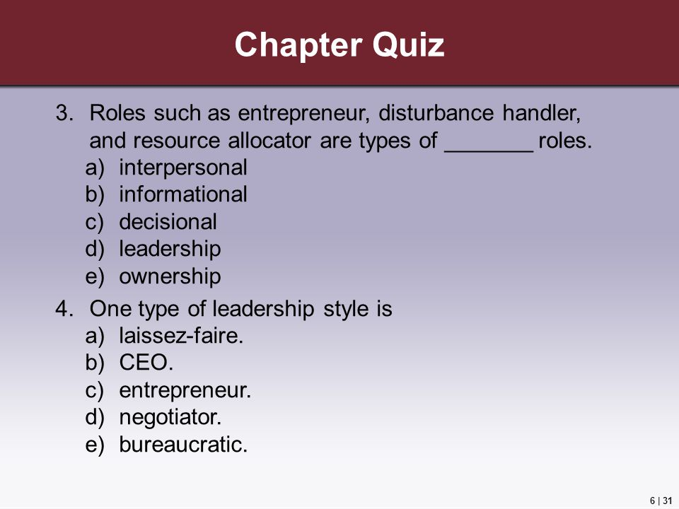 Chapter Quiz Roles such as entrepreneur, disturbance handler, and resource allocator are types of _______ roles.