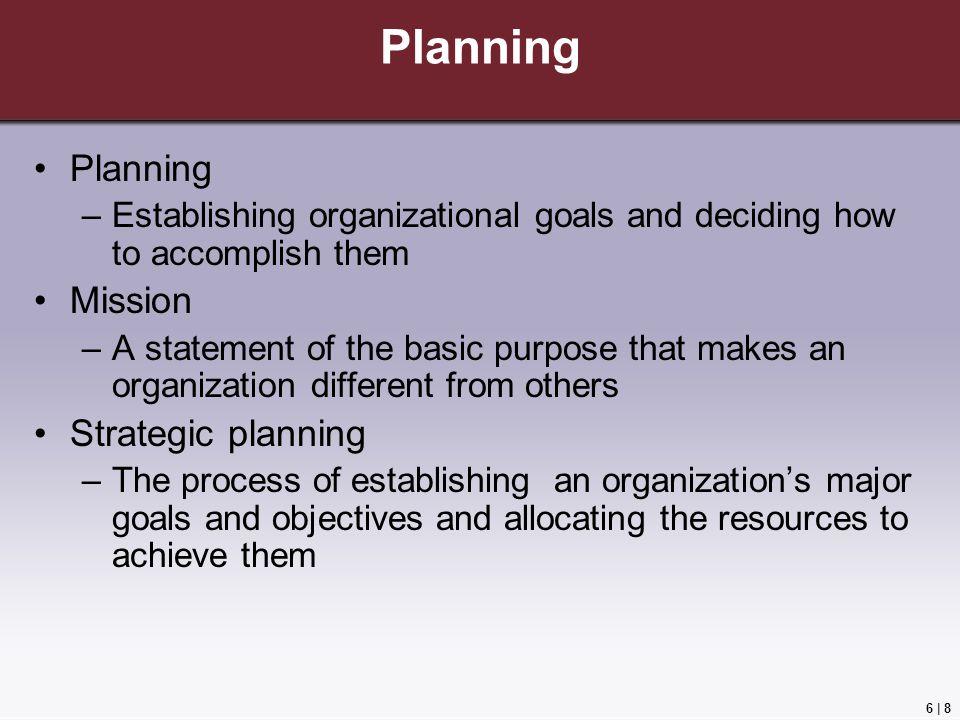 Planning Planning Mission Strategic planning