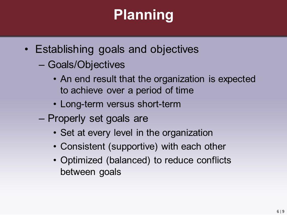 Planning Establishing goals and objectives Goals/Objectives