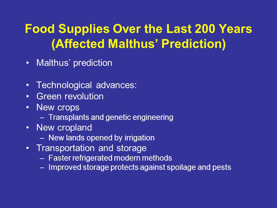 Food Supplies Over the Last 200 Years (Affected Malthus' Prediction)