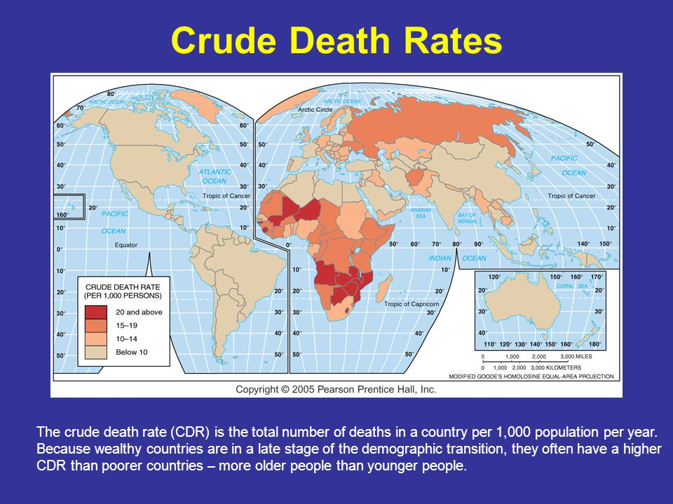 Crude Death Rates The crude death rate (CDR) is the total number of deaths in a country per 1,000 population per year.