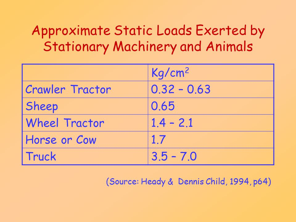 Approximate Static Loads Exerted by Stationary Machinery and Animals