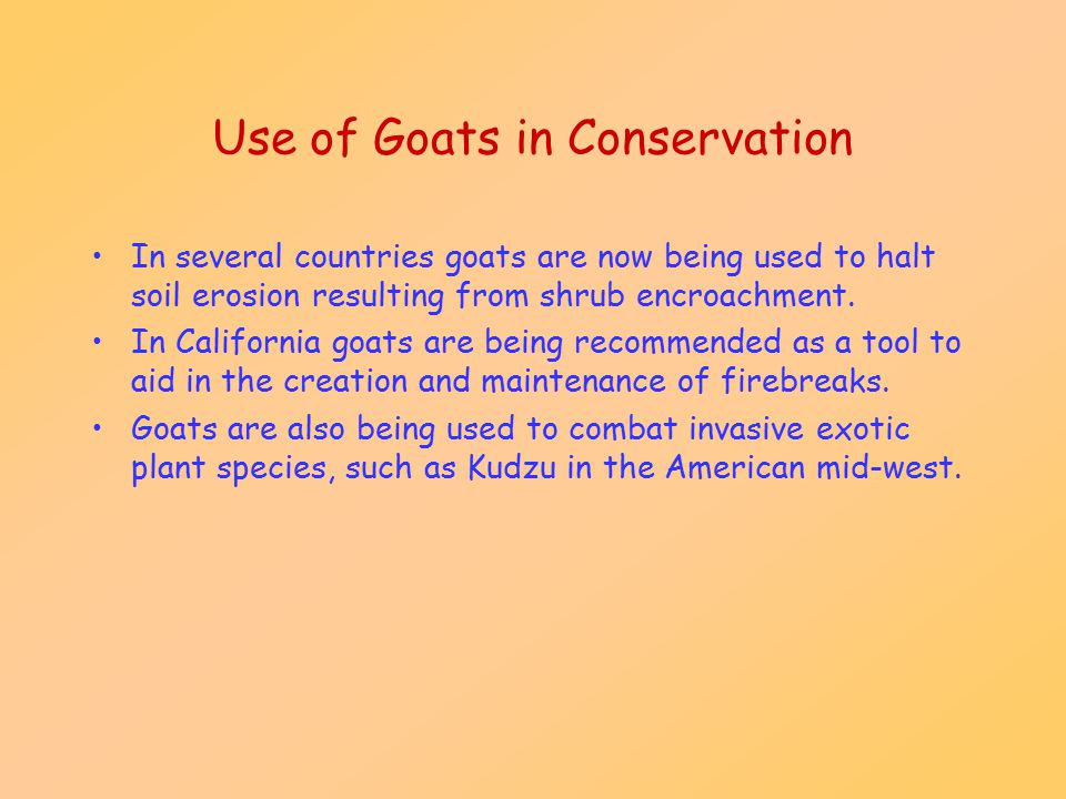 Use of Goats in Conservation