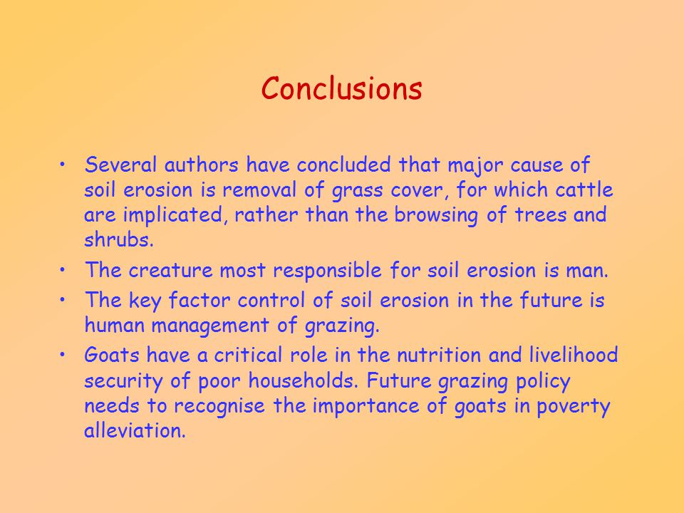 goats and soil erosion the evidence ppt video online 22 conclusions
