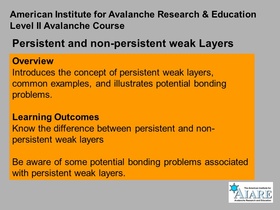 Persistent and non-persistent weak Layers