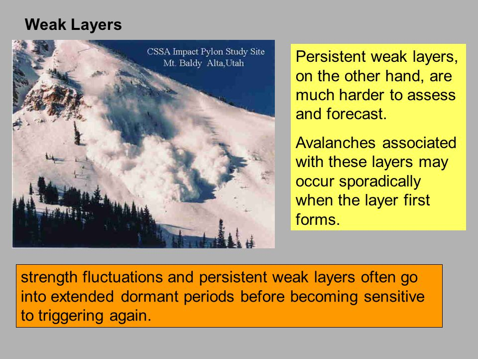 Weak Layers Persistent weak layers, on the other hand, are much harder to assess and forecast.