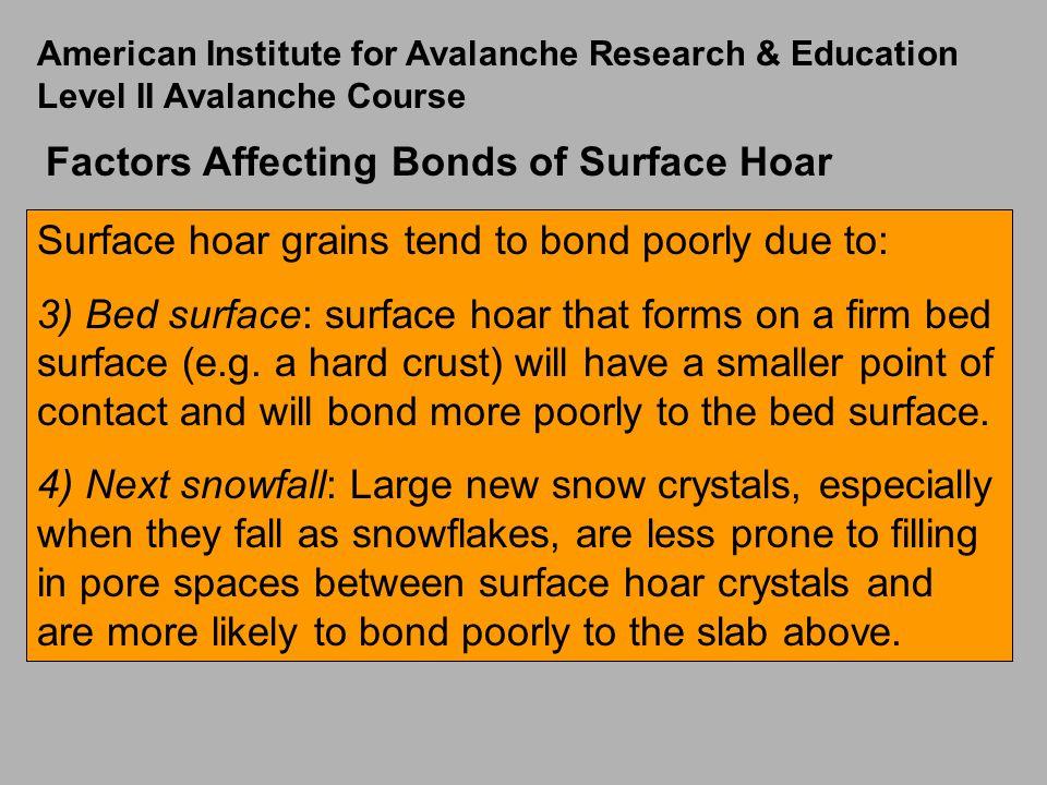 Factors Affecting Bonds of Surface Hoar