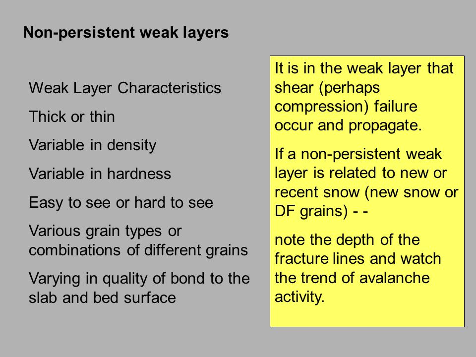 Non-persistent weak layers