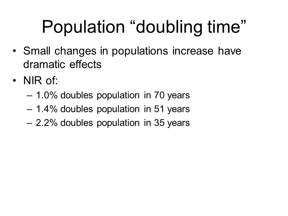 Population doubling time
