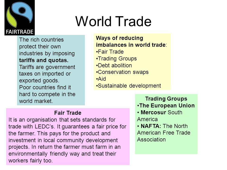 World Trade Ways of reducing imbalances in world trade: