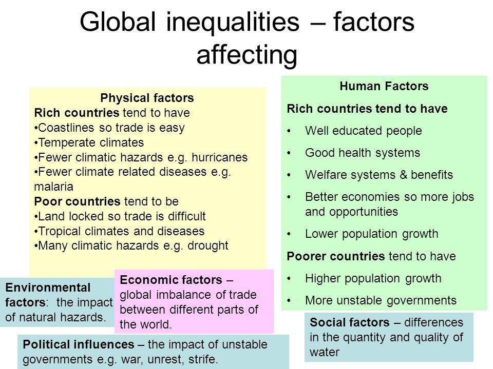 Global inequalities – factors affecting