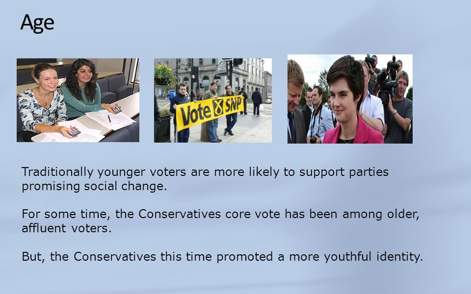 Age Traditionally younger voters are more likely to support parties promising social change.