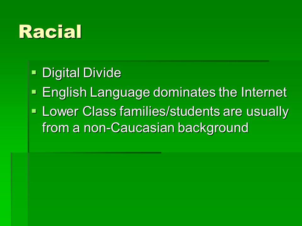 Racial Digital Divide English Language dominates the Internet