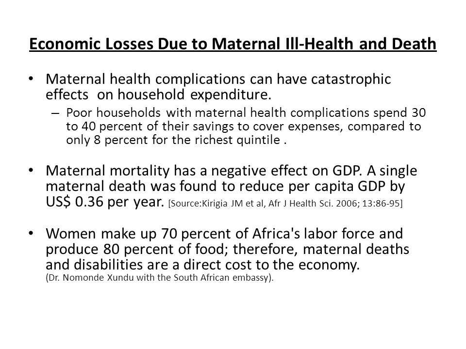 Economic Losses Due to Maternal Ill-Health and Death