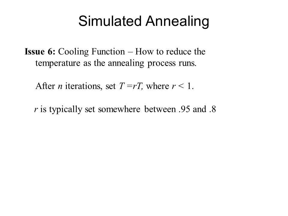 Simulated Annealing Issue 6: Cooling Function – How to reduce the temperature as the annealing process runs.