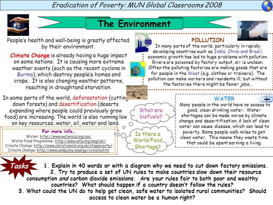 The Environment Eradication of Poverty: MUN Global Classrooms 2008