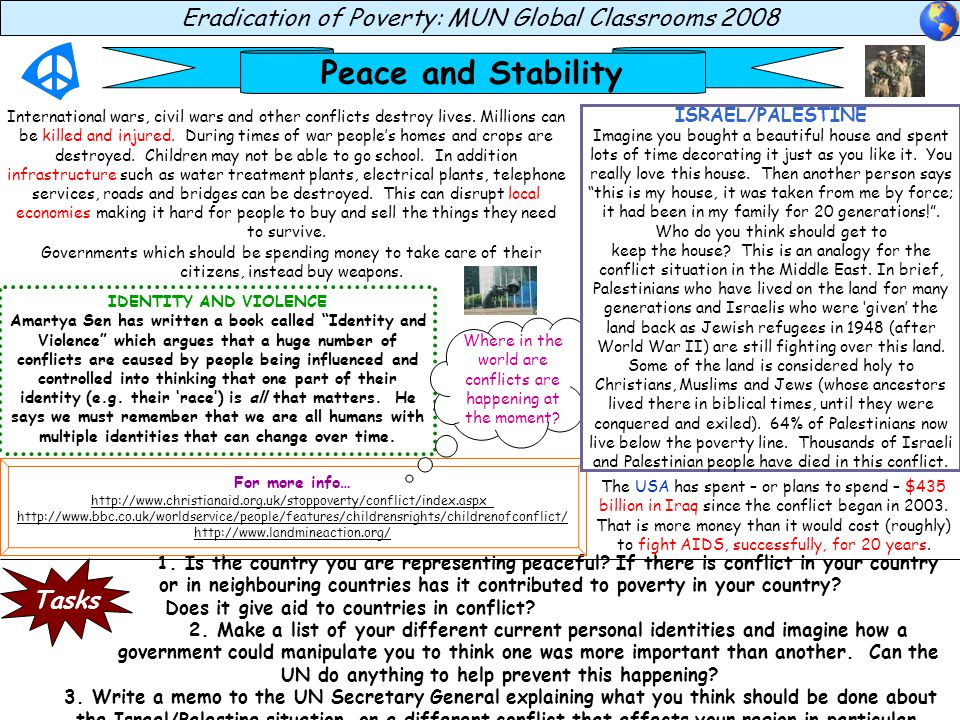 Peace and Stability Eradication of Poverty: MUN Global Classrooms 2008