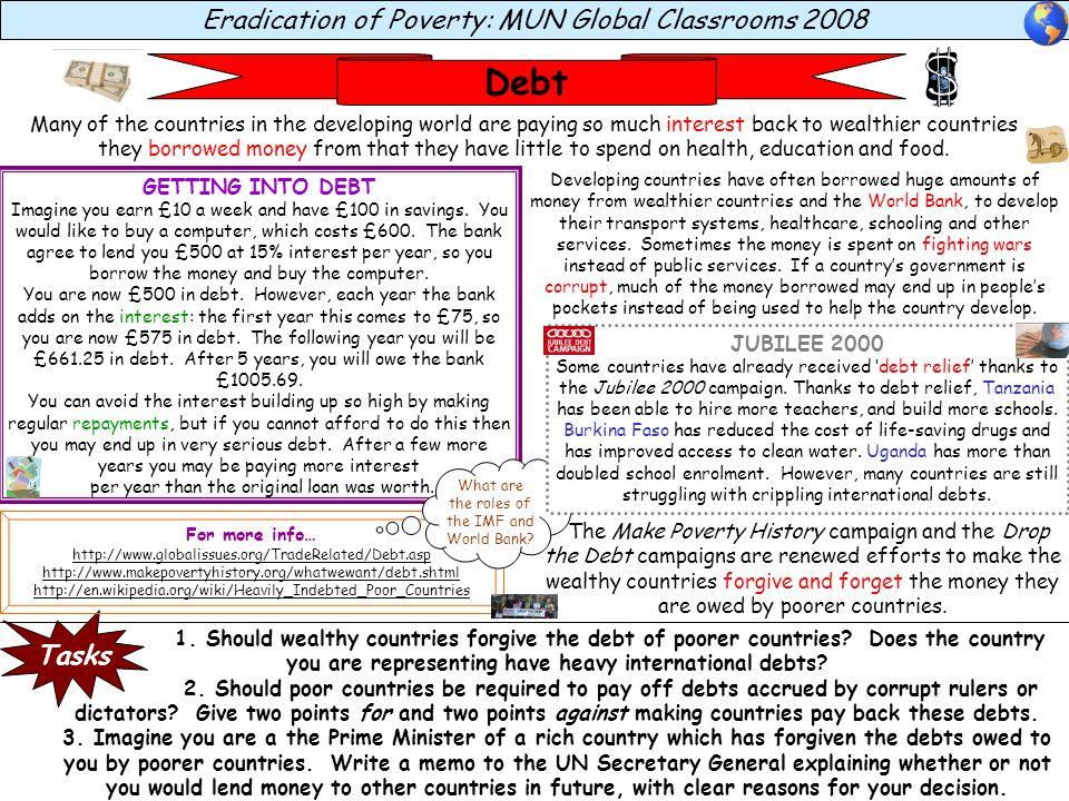 Debt Eradication of Poverty: MUN Global Classrooms 2008 Tasks