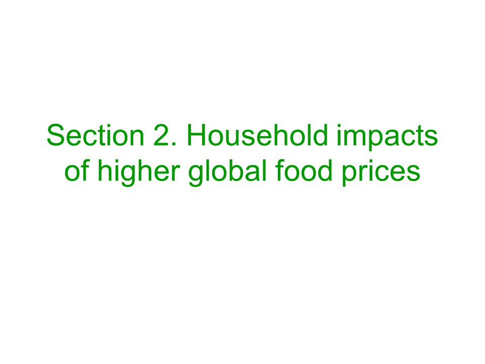 Section 2. Household impacts of higher global food prices