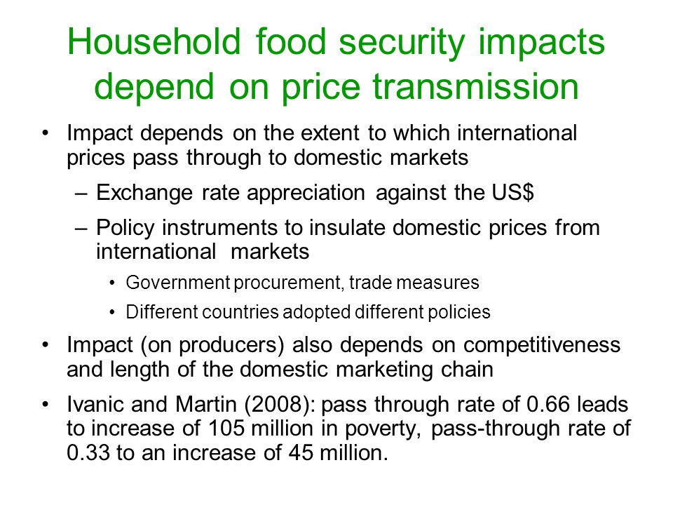 Household food security impacts depend on price transmission