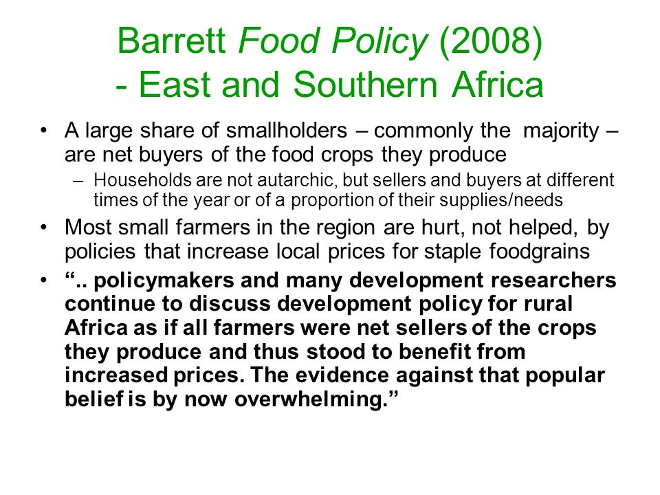 Barrett Food Policy (2008) - East and Southern Africa