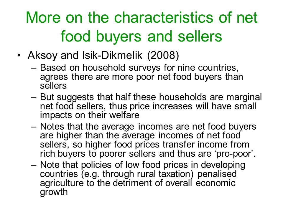 More on the characteristics of net food buyers and sellers