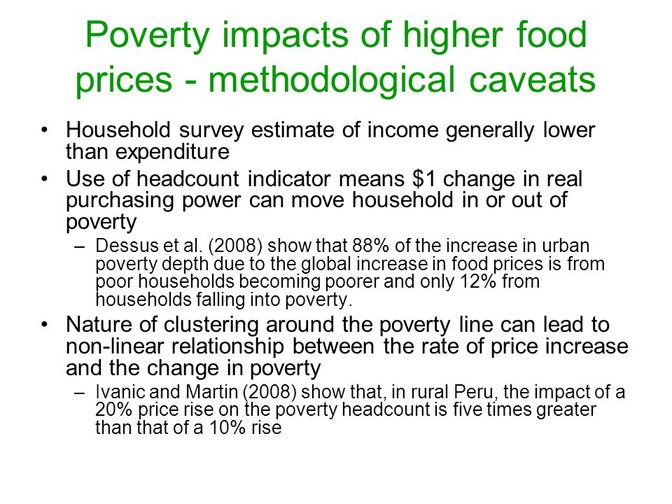 Poverty impacts of higher food prices - methodological caveats
