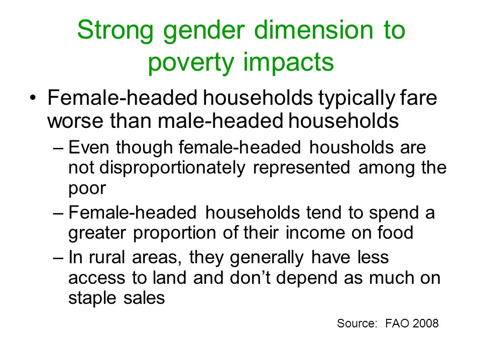 Strong gender dimension to poverty impacts