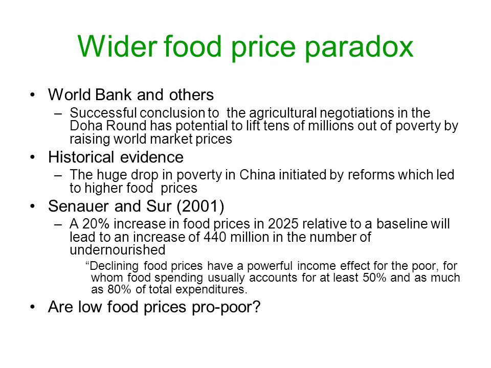 Wider food price paradox