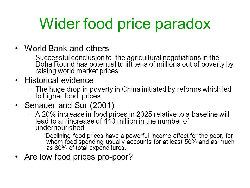 Wider food price paradox